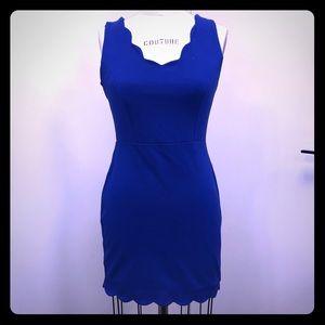 Monteau cobalt blue scalloped dress